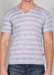 Timoteo Burnout Notched Crew Neck Grey