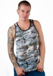 Timoteo Burnout Tank Top Blue/Black Camouflage