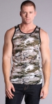 Timoteo Burnout Tank Top Green/Black Camouflage