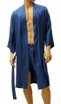 ManSilk Silk Stripe Jacquard Robe Cornflower