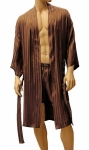 ManSilk Silk Stripe Jacquard Robe Brown
