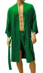 ManSilk Silk Stripe Jacquard Robe English Ivy
