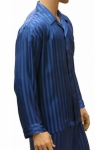 Mansilk Silk Stripe Jacquard Pajama Set Cornflower