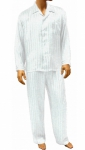 Mansilk Silk Stripe Jacquard Pajama Set White