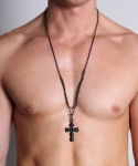 Timoteo Cross Chain Necklace Black