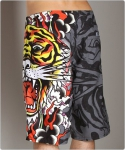 Ed Hardy Burning Tiger Board Shorts Black