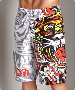 Ed Hardy Burning Tiger Board Shorts White
